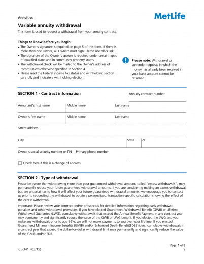 Download MetLife Variable Annuity Withdrawal Form | PDF | RTF ...