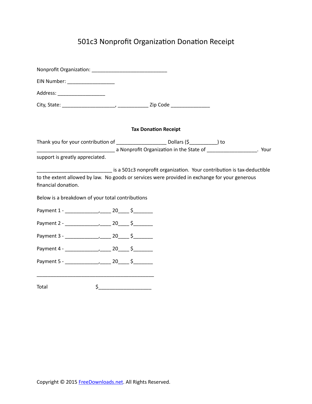 501c3 donation receipt  Download 501c3 Donation Receipt Letter for Tax Purposes | PDF | RTF ...