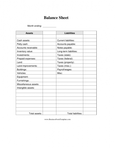 Church Balance Sheet Template  Free Printable Balance Sheet Template