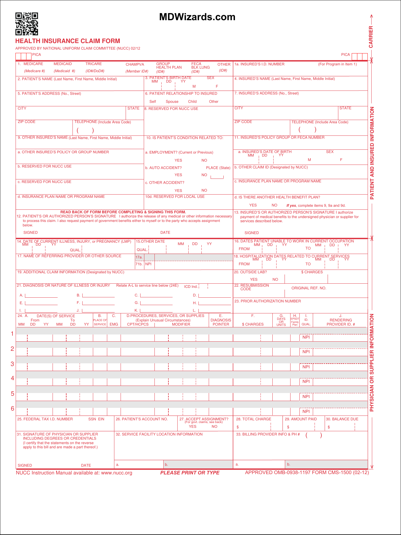Fillable HCFA 1500 Claim Form