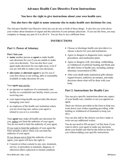 Download california living will form advance directive for Advance care directive template