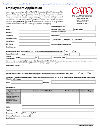 Download Cato Fashions Job Application Form Career – Job Application Form in Pdf