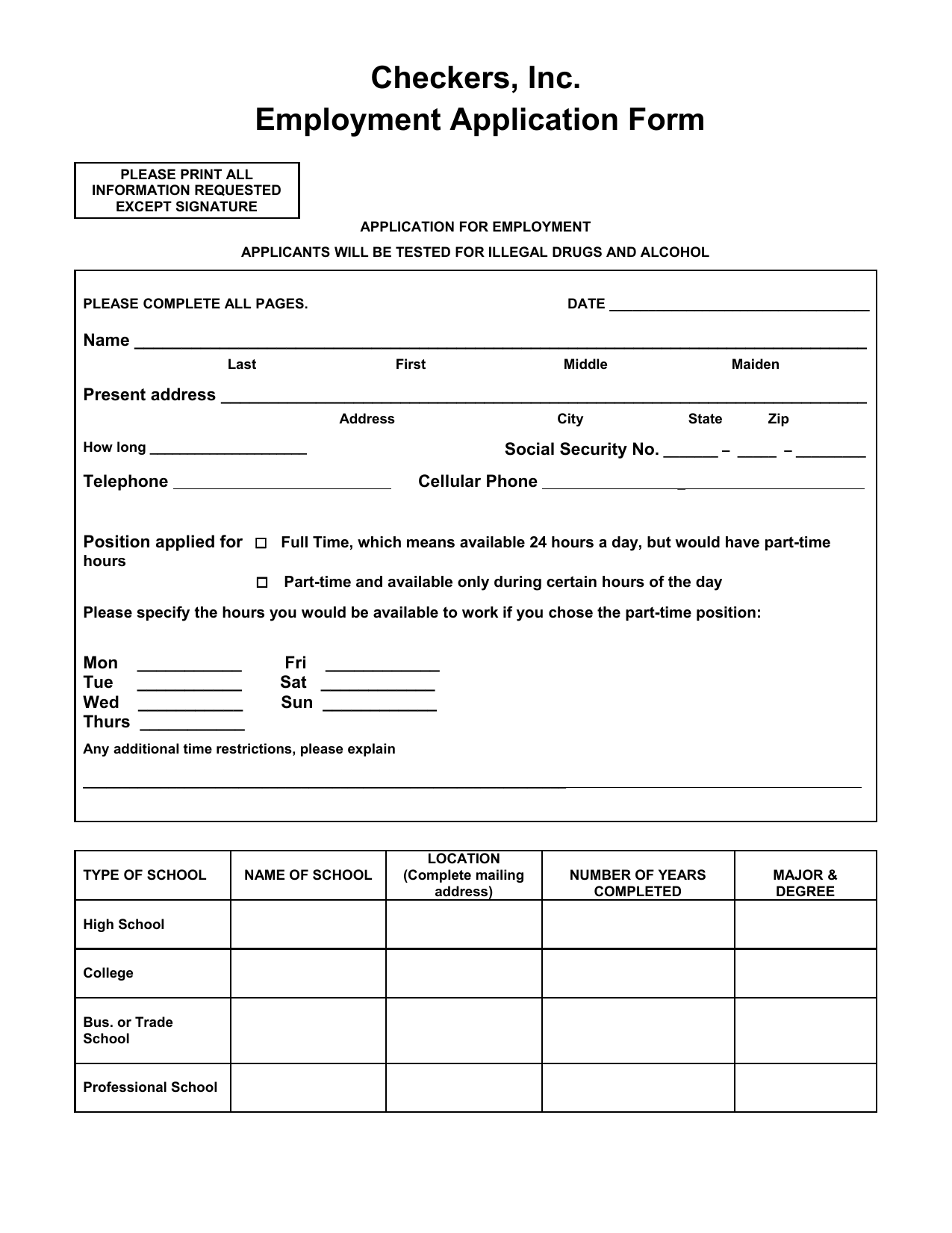 download checkers job application form careers pdf