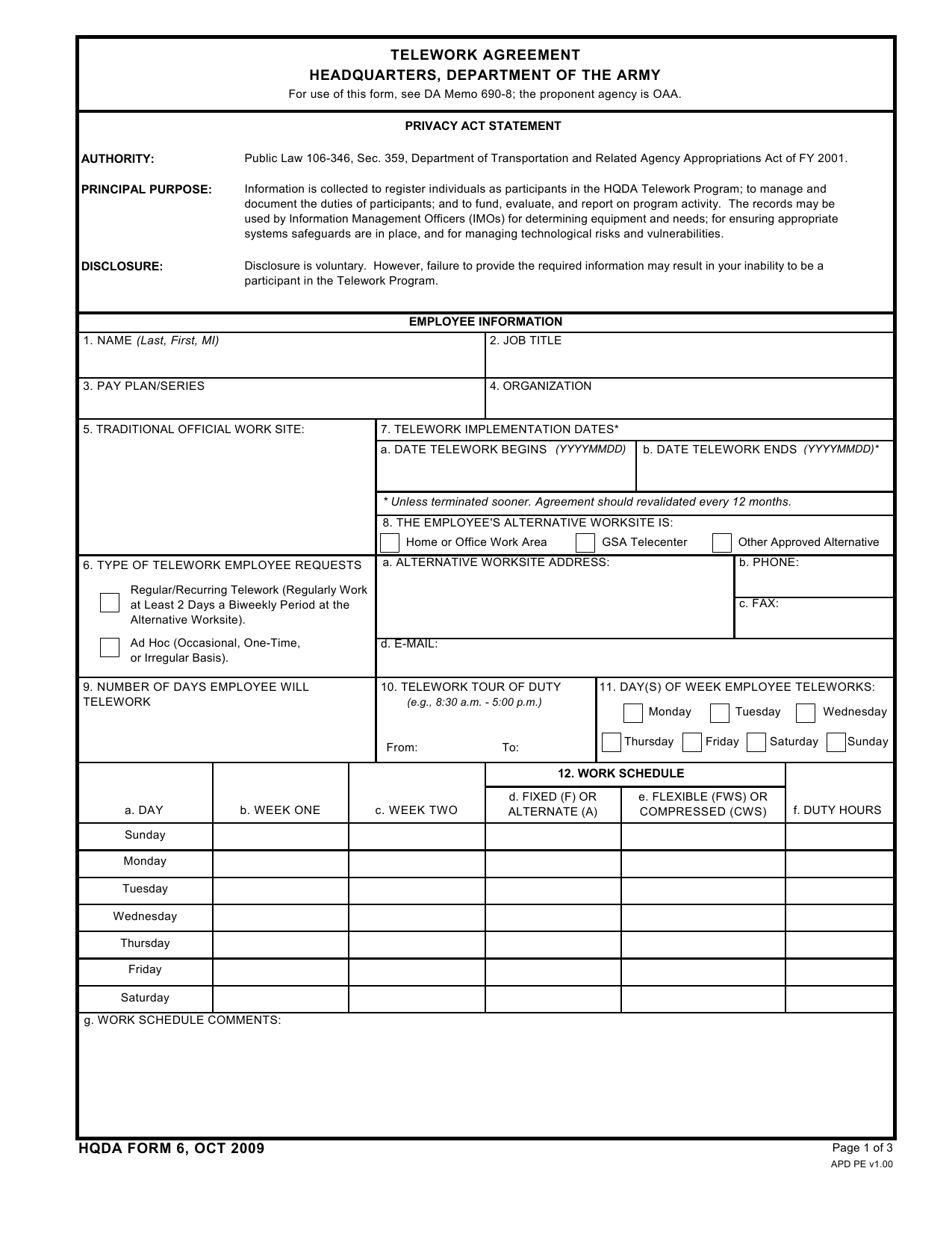 Download Da Form Hqda6 Telework Agreement Headquarters Department