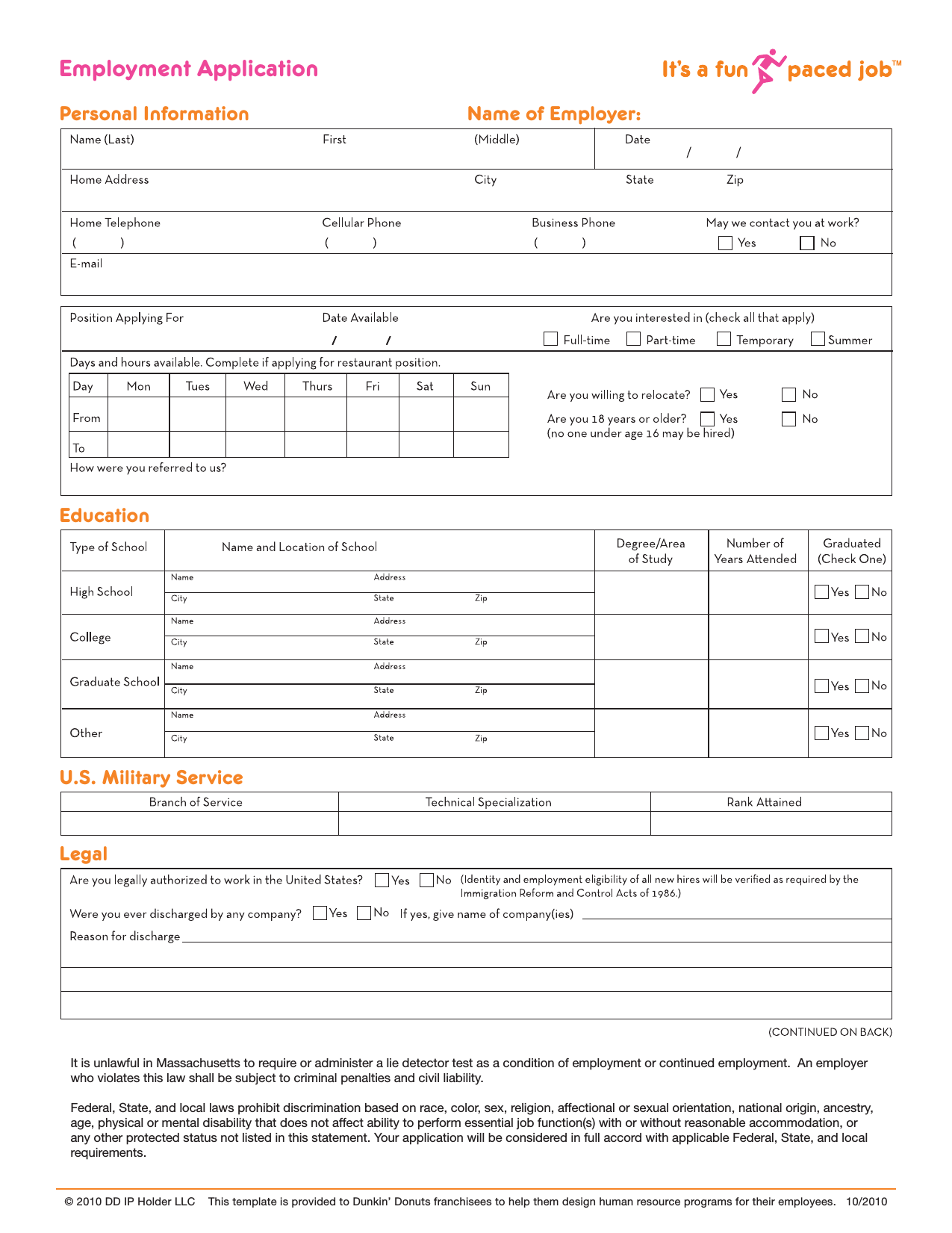Download Dunkin Donuts Job Application Form- Careers | PDF ...
