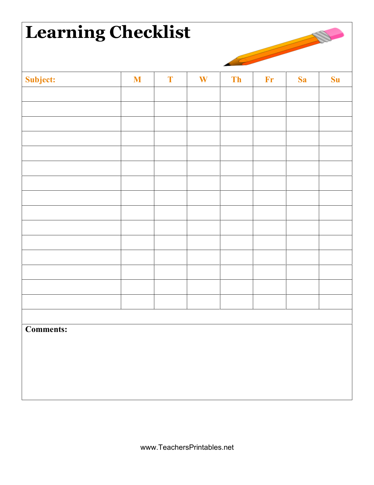 download student checklist template | excel | pdf | rtf | word