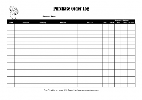 Purchase Order Log Template  Purchase Order Format Free Download