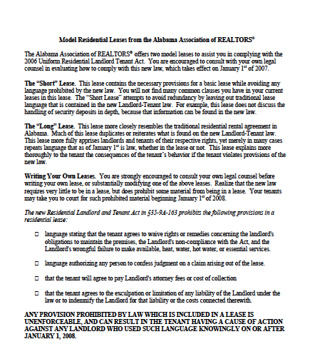 Residential Lease Agreement | Download Alabama Assoc Of Realtors Residential Lease Agreement