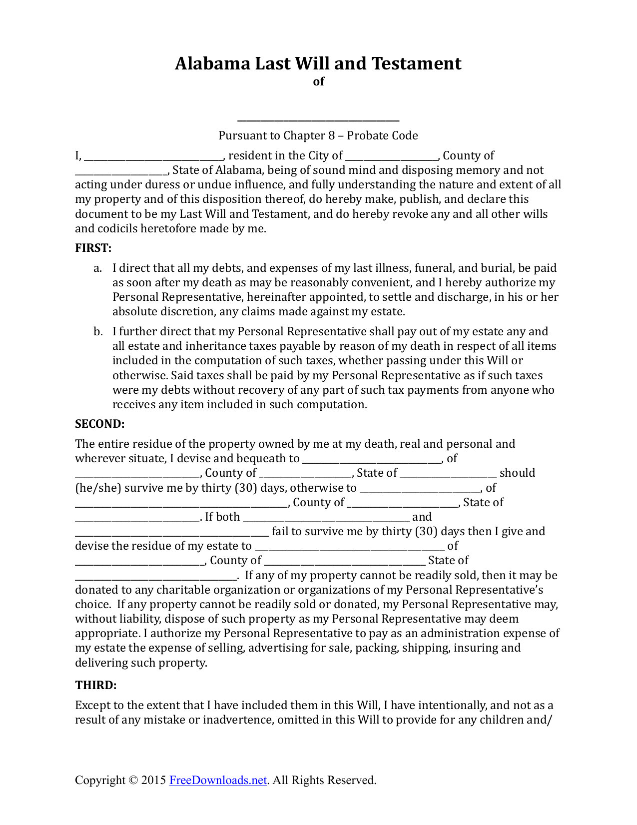 Printable last will and testament form for Will template new york