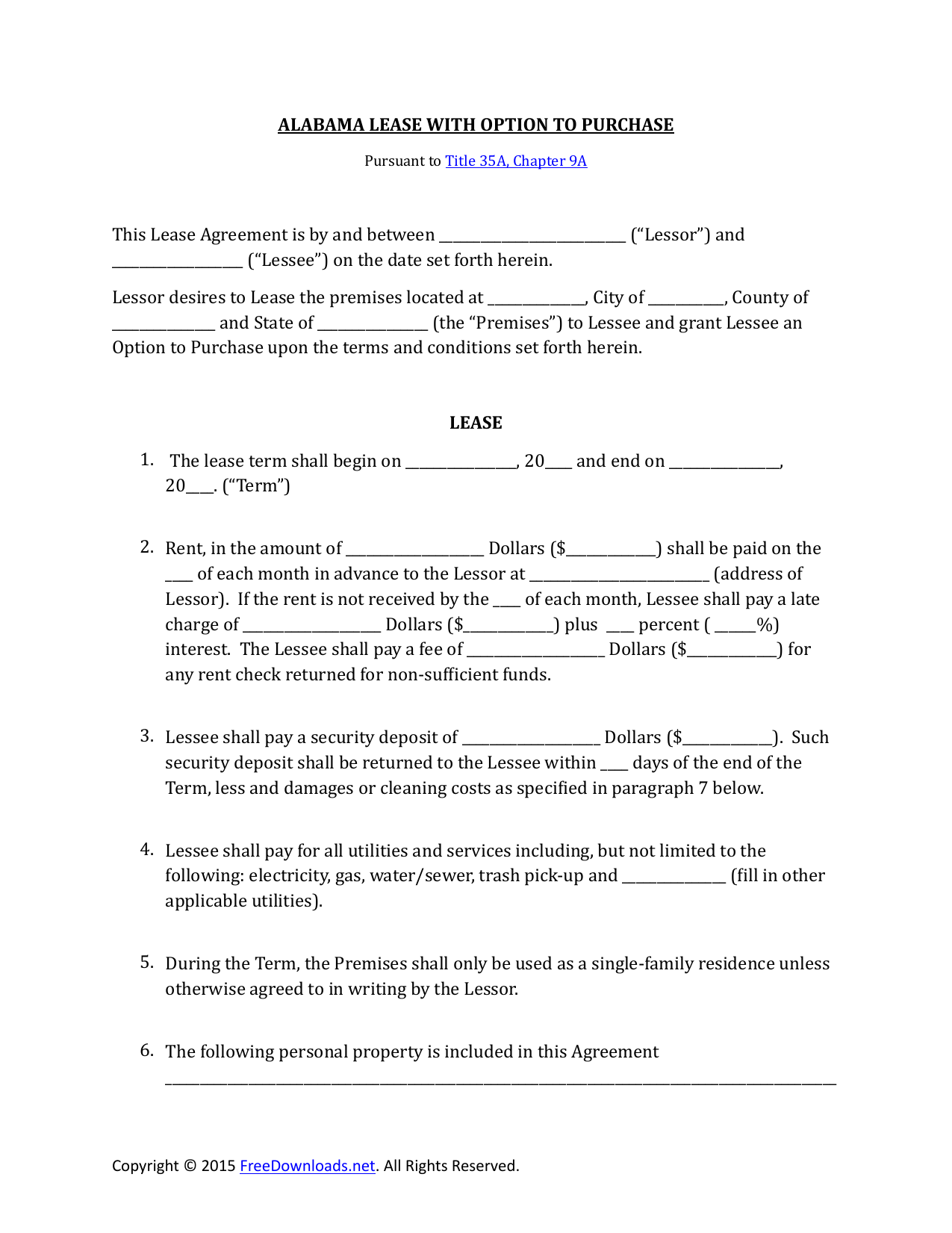 Download Alabama Lease Purchase Rent To Own Agreement Pdf Rtf