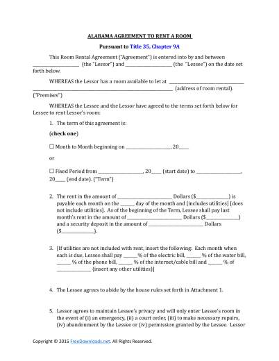 Alabama Room Rental Lease Agreement