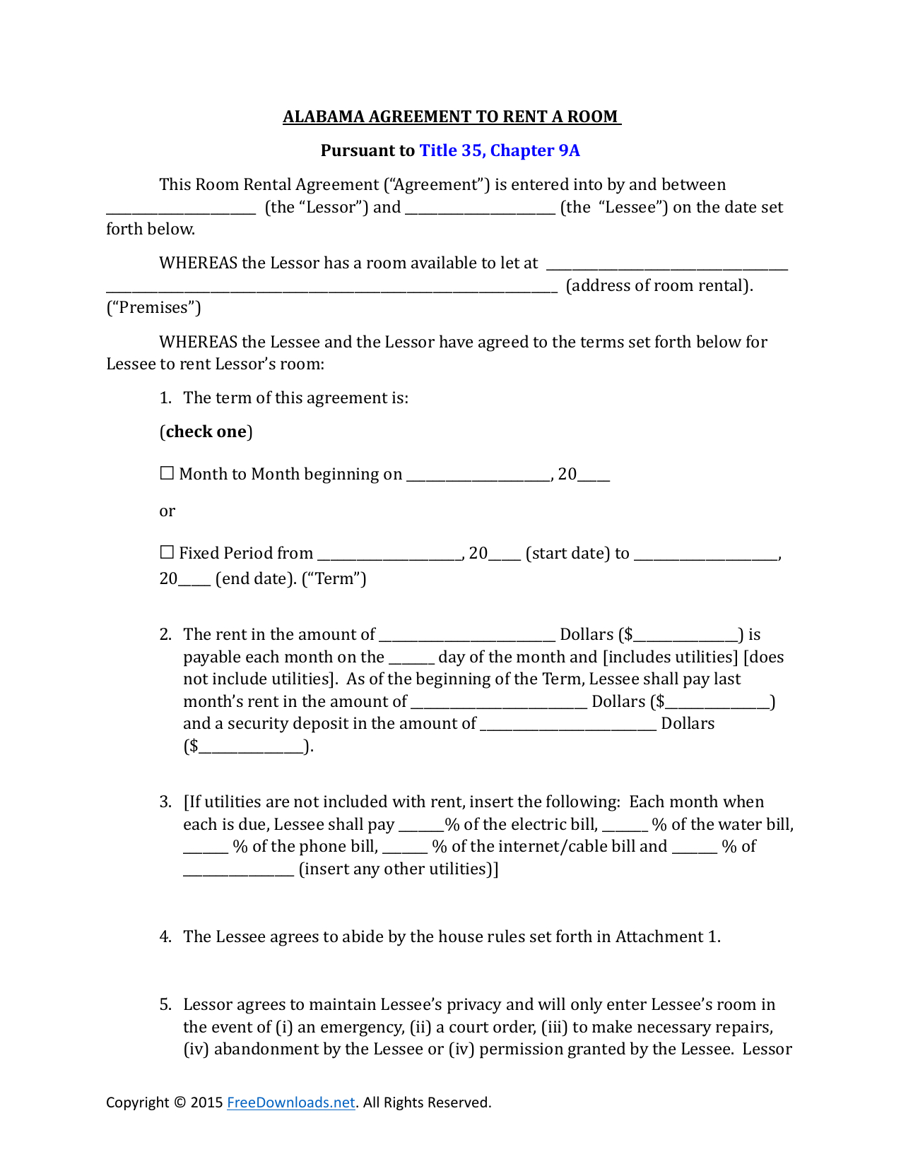 Download Alabama Room Rental Lease Agreement Pdf Rtf Word