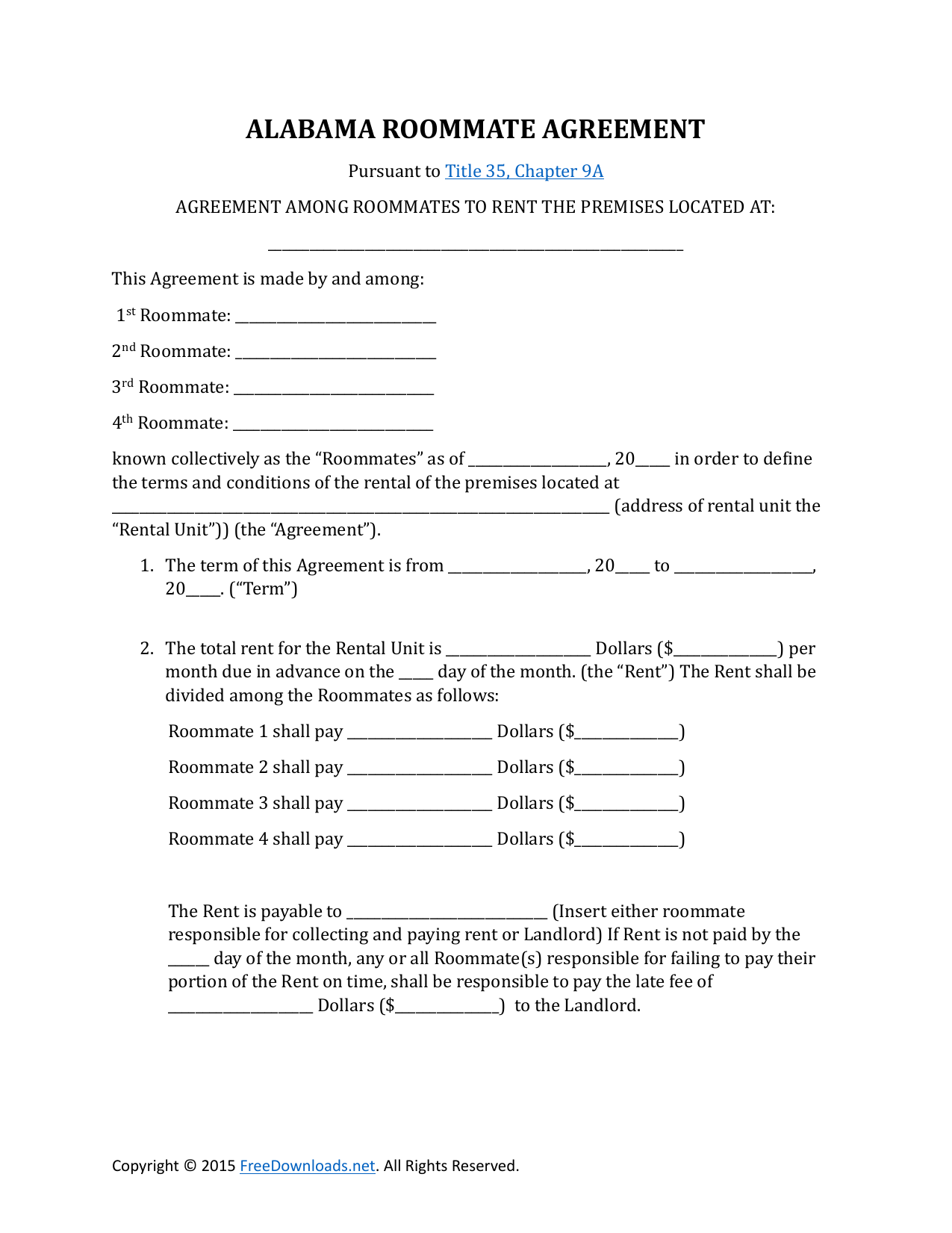 Download Alabama Roommate Rental Lease Agreement | PDF | RTF | Word ...