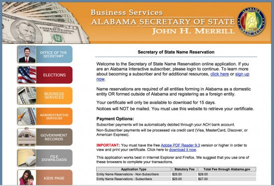 Download Alabama Domestic Entity Name Reservation Form | Pdf