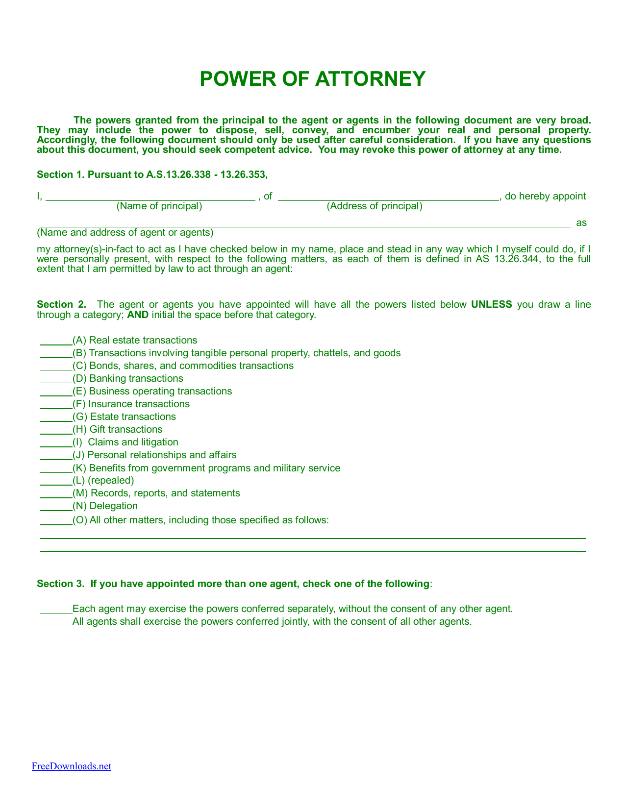 Download Alaska Durable Financial Power Of Attorney Form Pdf Rtf