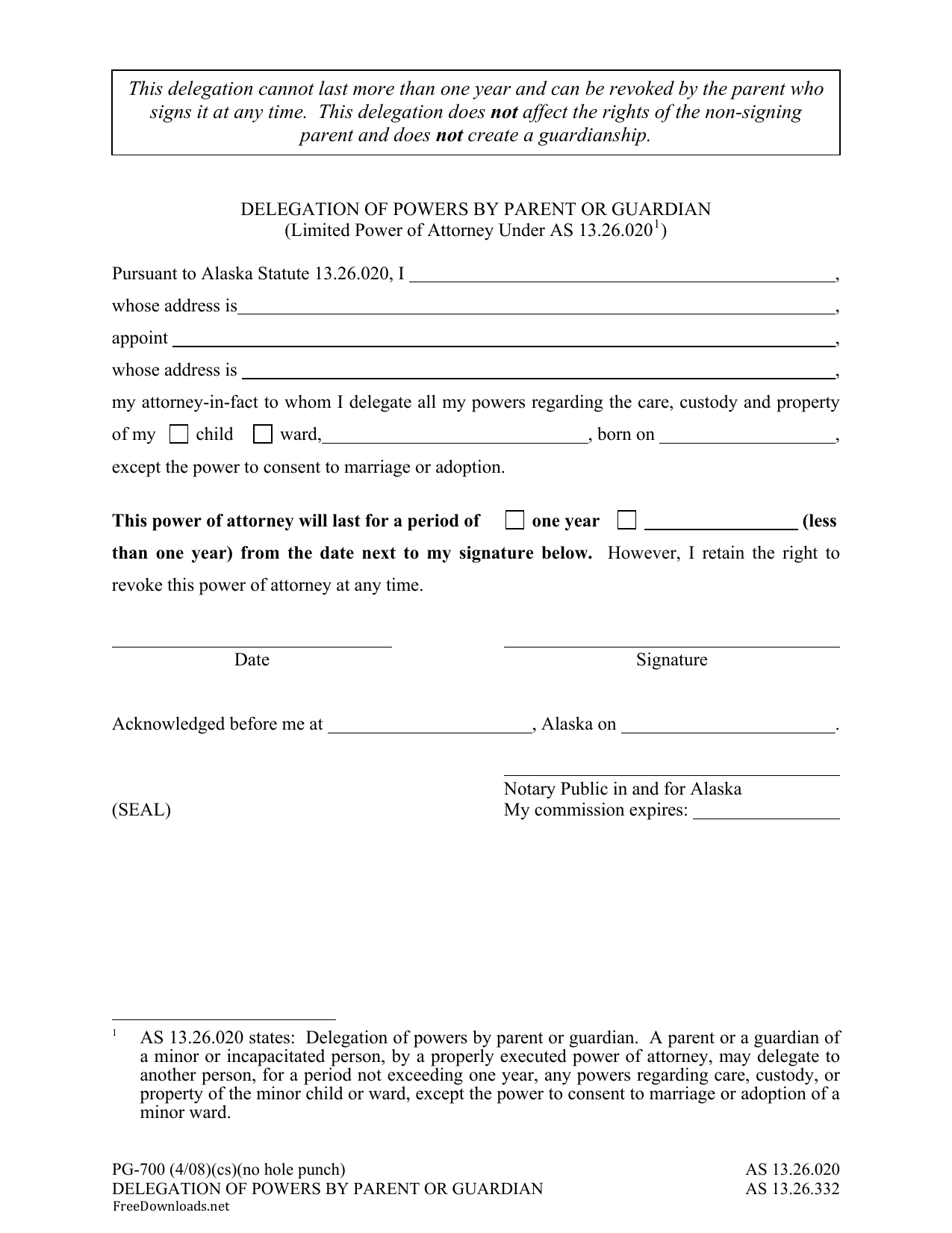 Download Alaska Minor Child Power Of Attorney Form Pdf