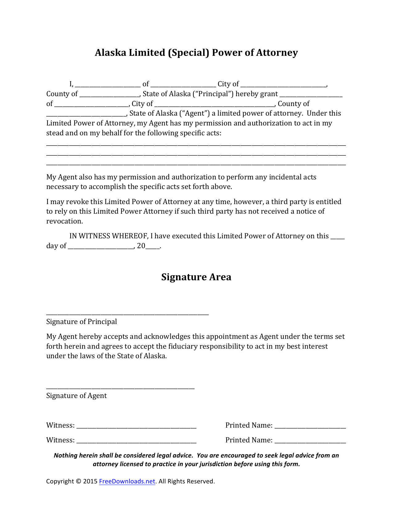 Download Alaska Special Financial Power Of Attorney Form Pdf Rtf