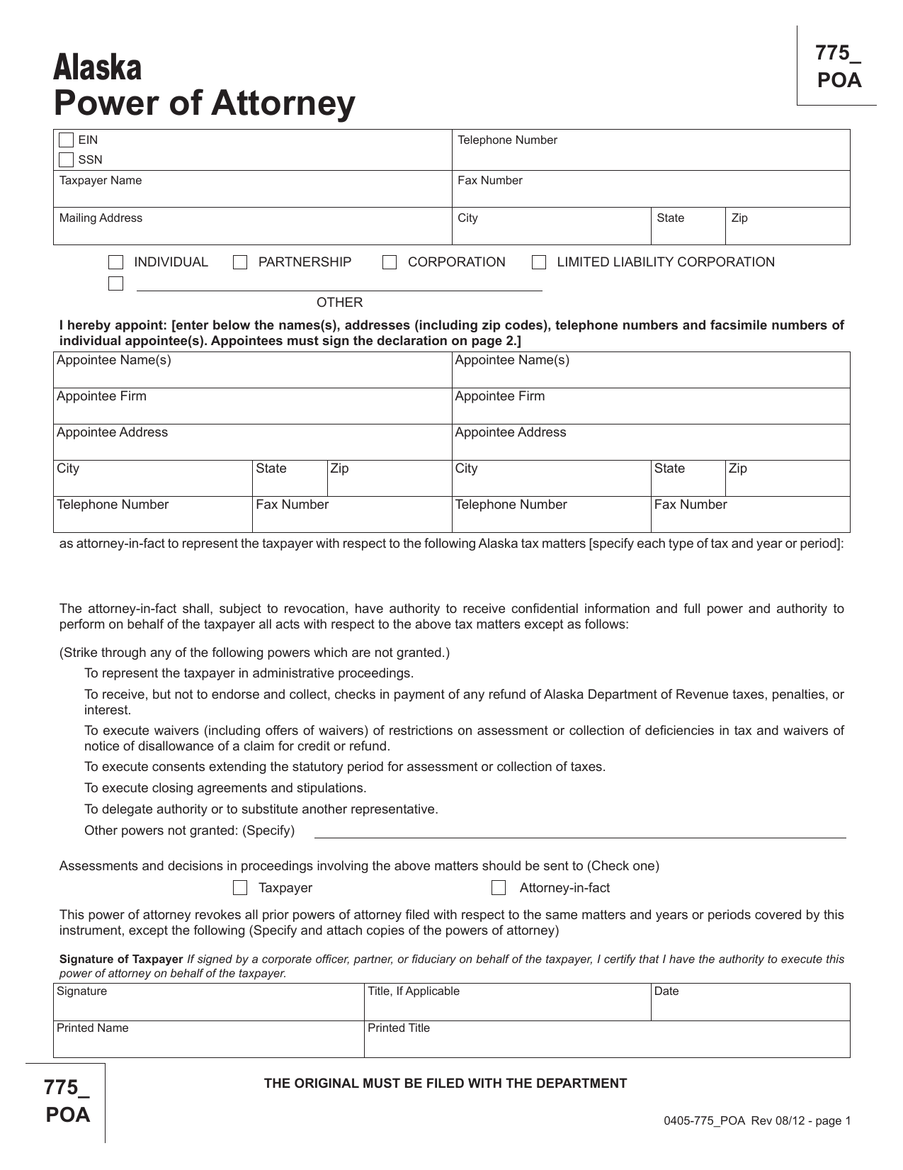 Download Alaska Dept Of Revenue Tax Power Of Attorney Form 775