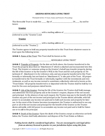 Download Arizona Revocable Living Trust Form | PDF | RTF | Word ...