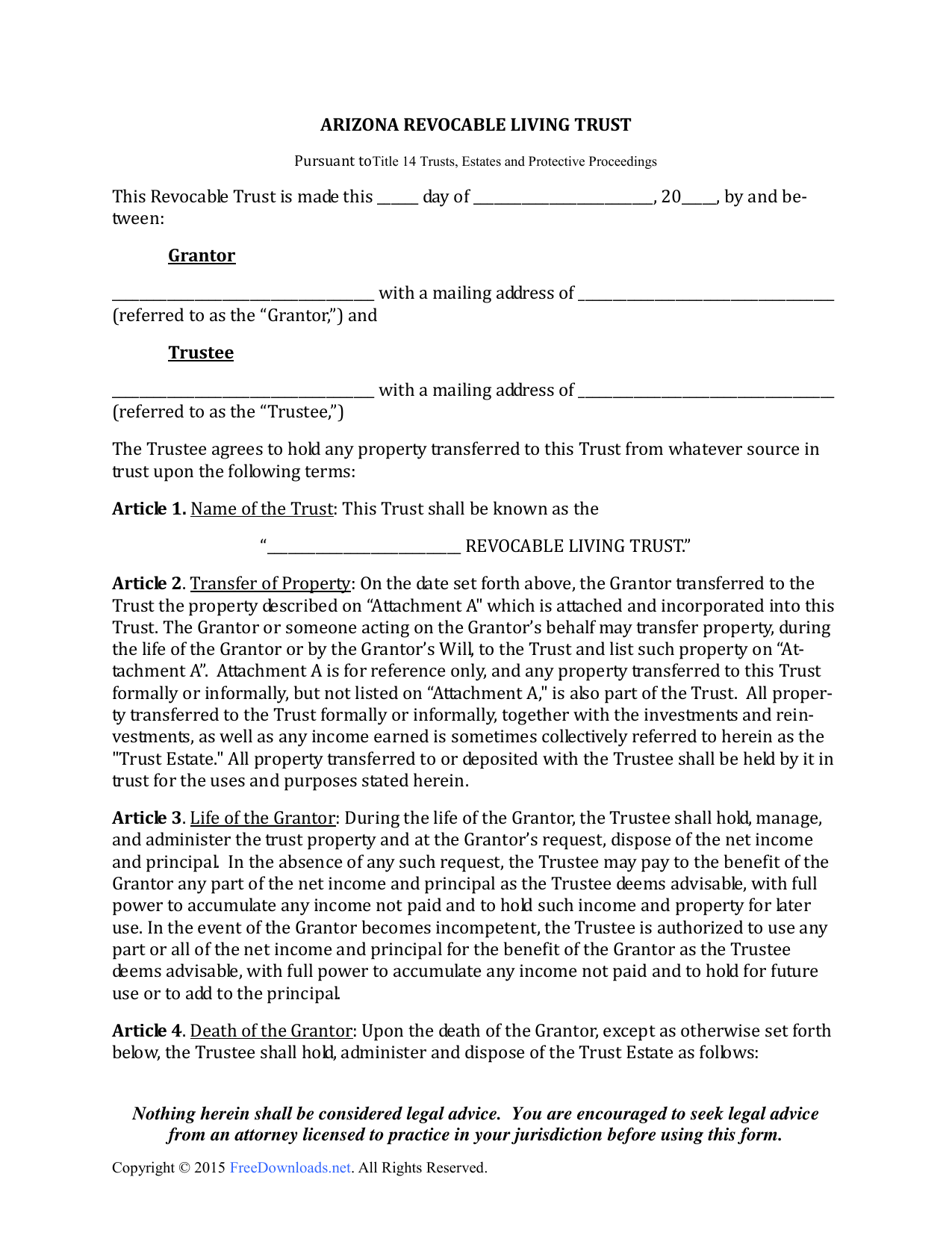 Download Arizona Revocable Living Trust Form PDF RTF Word - Living trust template