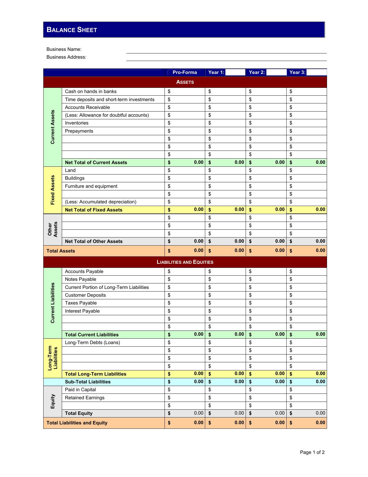 Download Pro Forma Balance Sheet Template Excel Pdf Rtf Word