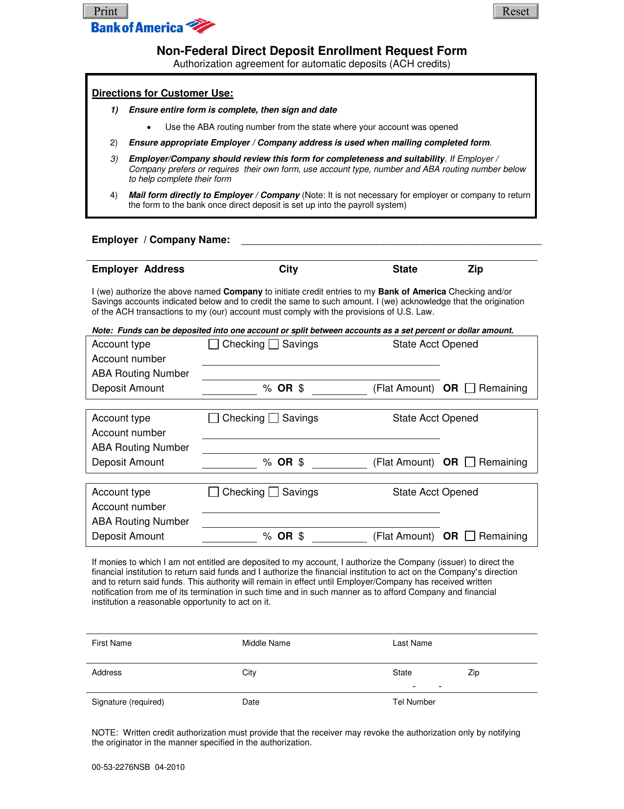 download bank of america direct deposit form | pdf | freedownloads