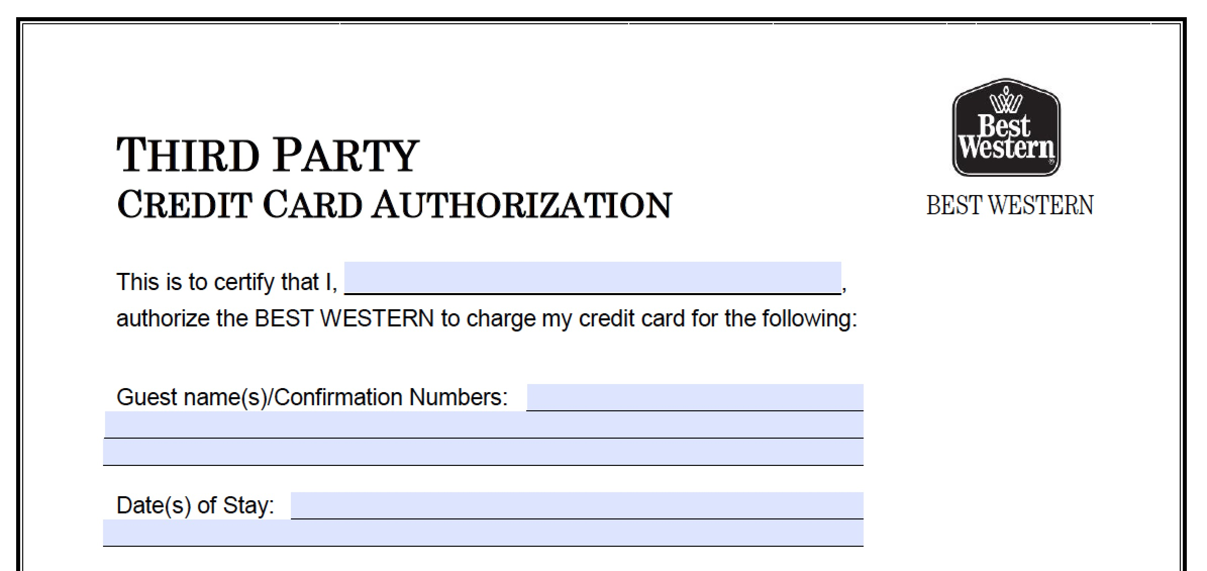 best western credit card authorization form part 1