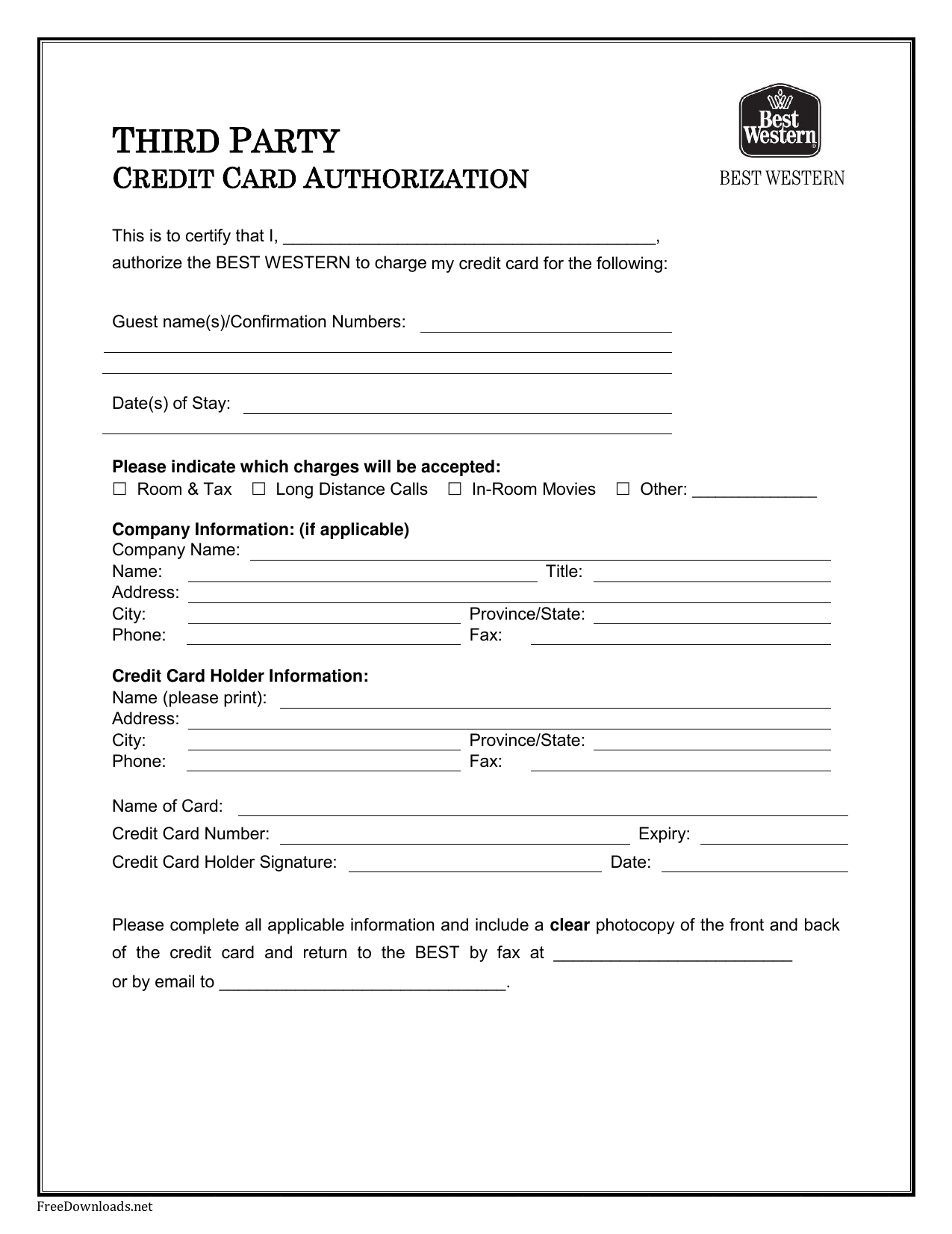 Download Best Western Credit Card Authorization Form Template | PDF ...