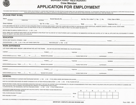 experience on job application
