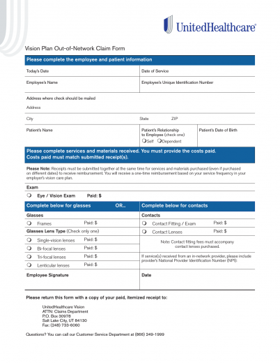 Download United Healthcare Vision Claim Form | PDF | FreeDownloads.net
