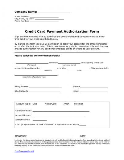 One (1) Time Credit Card Authorization Payment Form