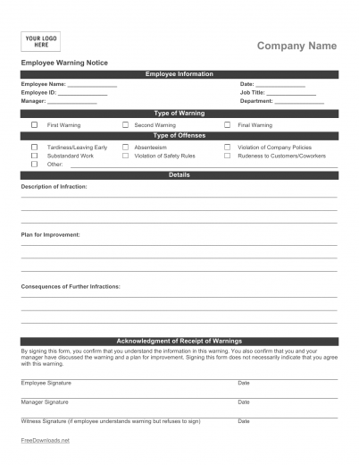 Download Employee Write-up Form | PDF | RTF | Word | FreeDownloads.net