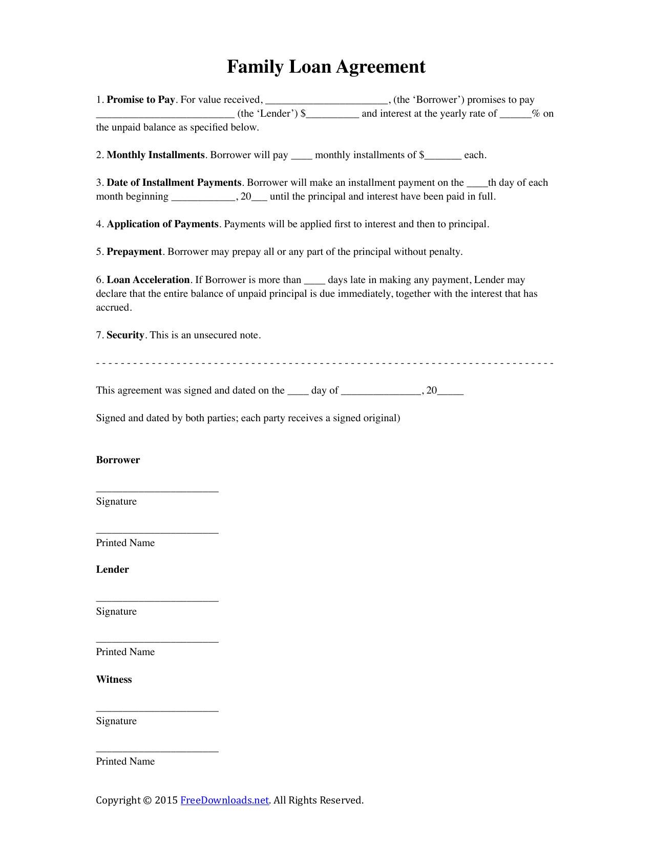 Download Family Loan Agreement Template Pdf Rtf Word