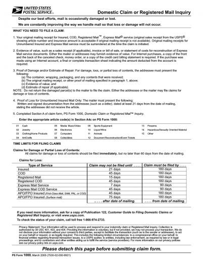 Download USPS Form 1000 | Claim for Loss or Damage | PDF ...