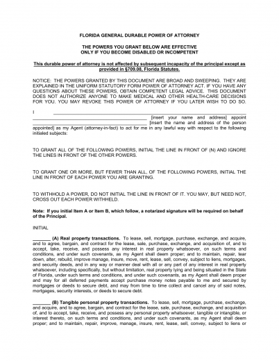 Download Florida Durable Financial Power of Attorney Form | PDF ...