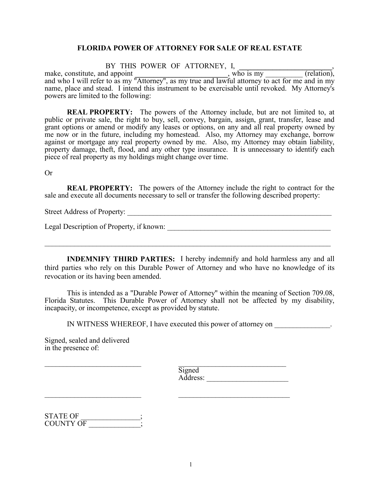 Download Florida Real Estate Power Of Attorney Form Pdf