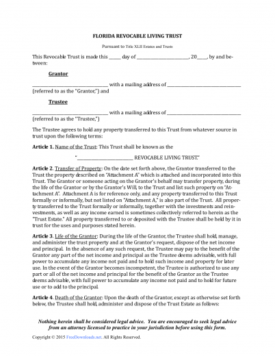Download Florida Revocable Living Trust Form | PDF | RTF | Word ...
