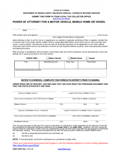 Download Florida Vehicle Power of Attorney | Form HSMV 82053 | PDF ...