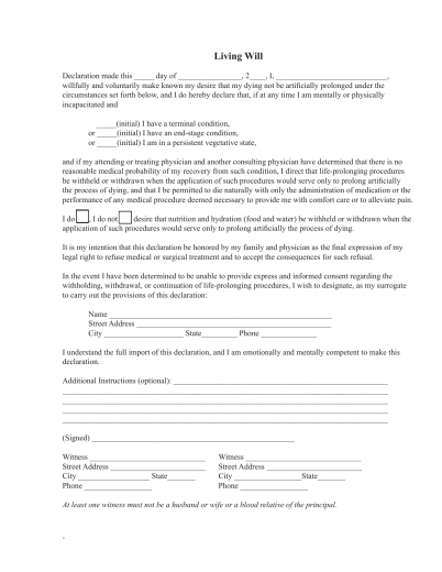 Download florida living will form advance directive for Advanced directive template