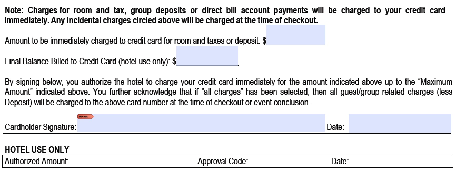 download hilton credit card authorization form template pdf