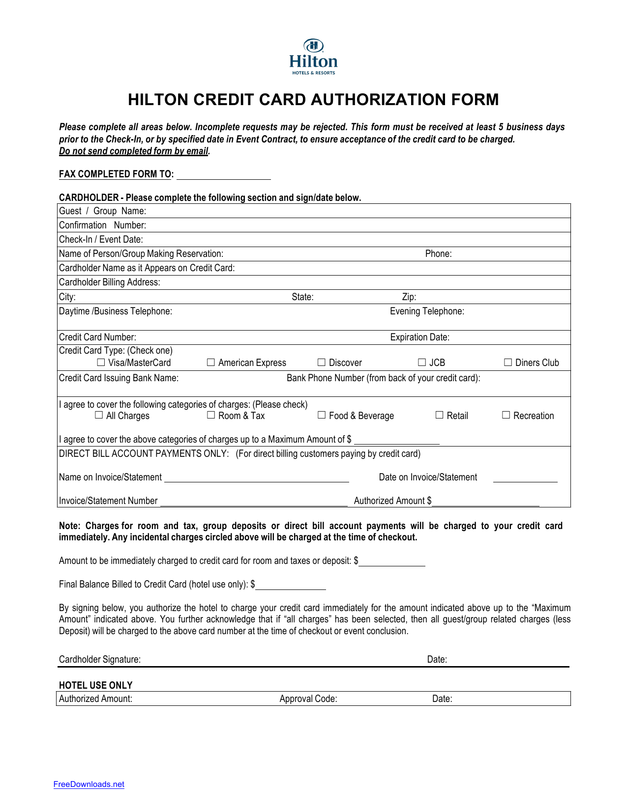 Download hilton credit card authorization form template pdf hilton credit card authorization form template maxwellsz