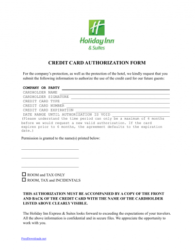 Holiday Inn Credit Card Authorization Form Template