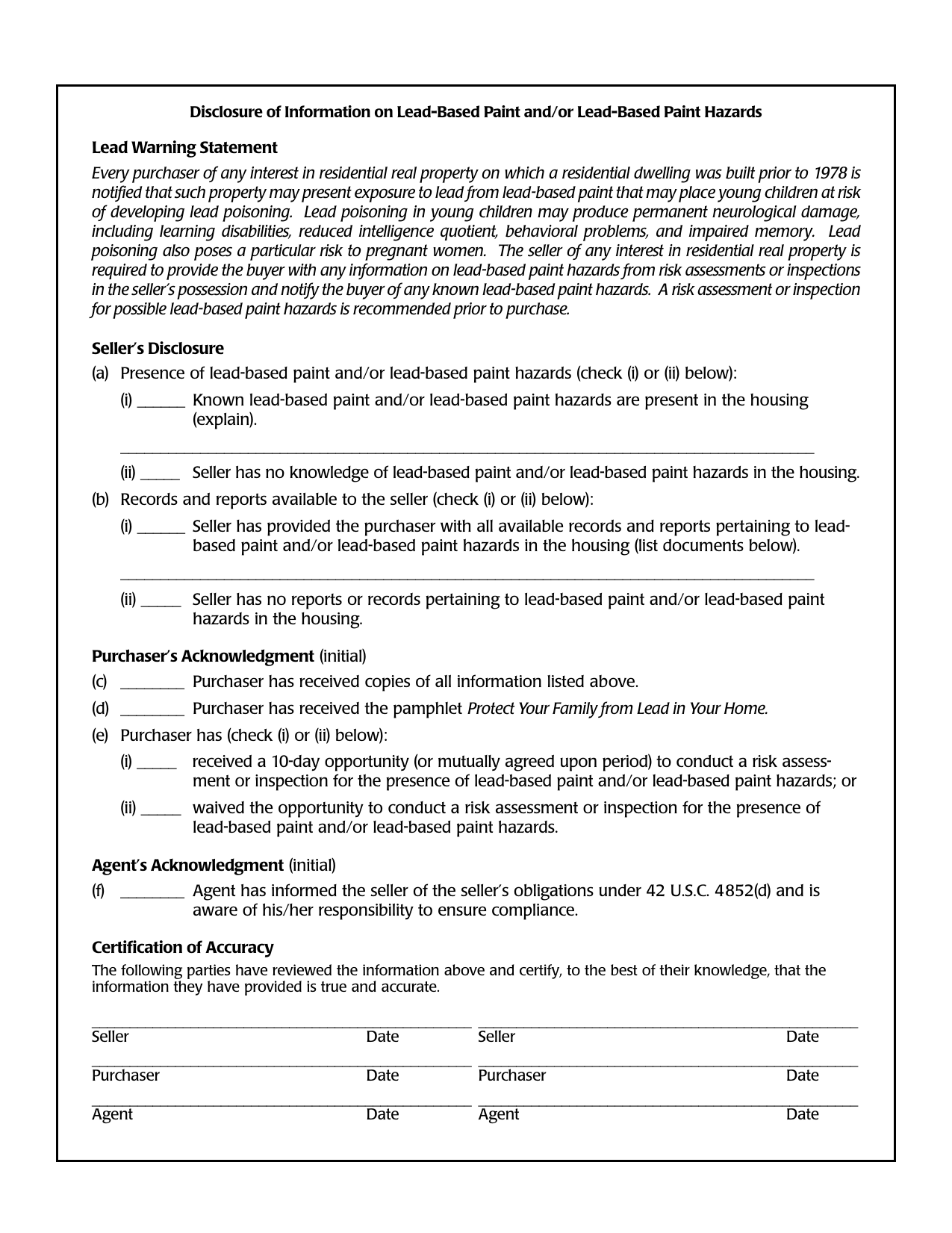 download hud disclosure of lead based paint  sale of