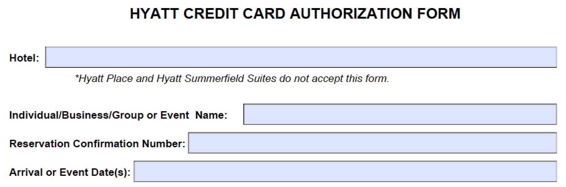 hyatt credit card authorization form Download Hyatt Credit Card Authorization Form Template | PDF ...