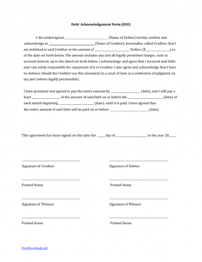 Download iou i owe you debt acknowledgment form pdf for Acknowledgement of debt template