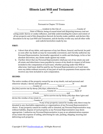 Download Illinois Last Will and Testament Form | PDF | RTF | Word ...