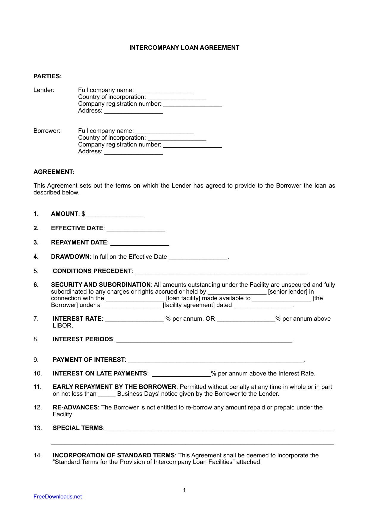 InterCompany Loan Agreement Template
