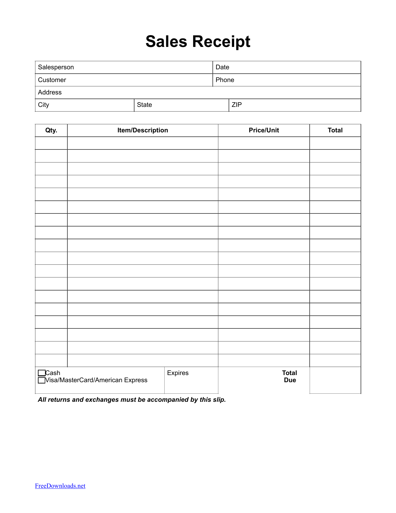 download itemized sales receipt template