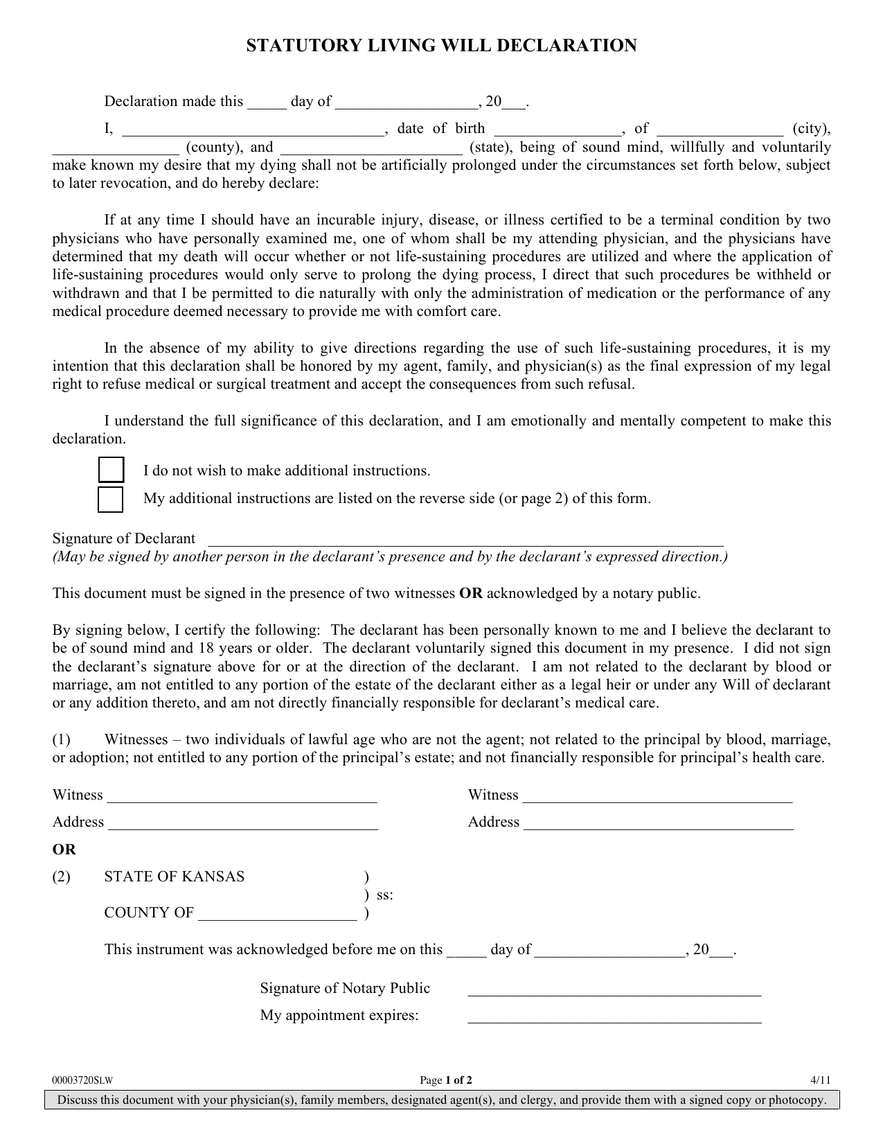 kansas_living_will.pdf  Application Form on blank mortgage loan, lender signature, document mortgage process, revised government monitoring pages,