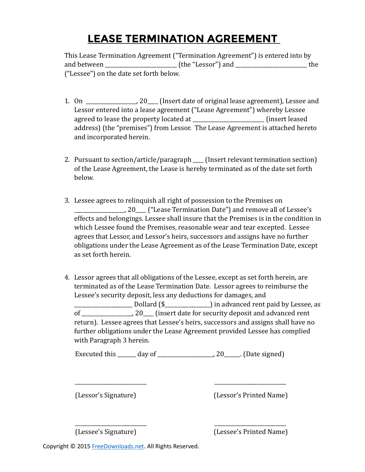 Early Residential Lease Termination Agreement Form